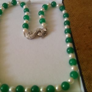 Green Jade 8mm  /6mm Akoya Pearl Necklace